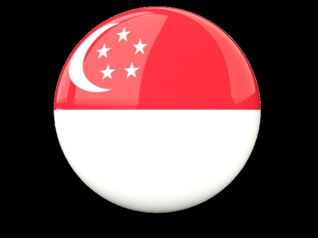 Glossy round flag of Singapore
