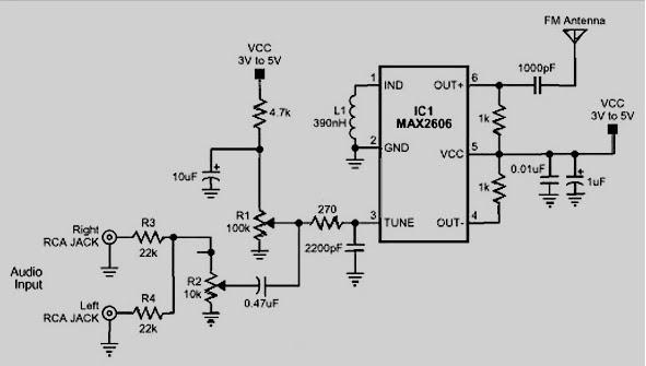 wiring schematic diagram  fm transmitter 88-108mhz