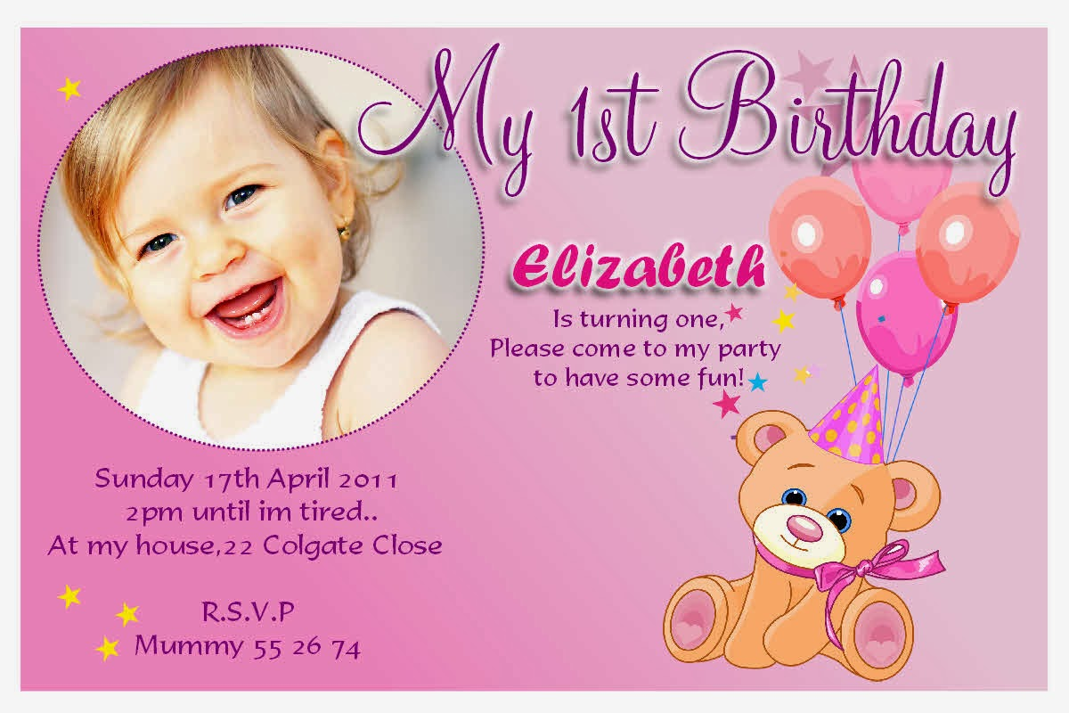 1st Birthday Party Card Wording ~ Image Inspiration of Cake and ...