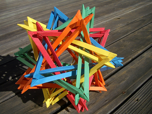 Five Intersecting Tetrahedra Origami