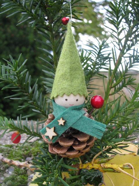 pinecone elf christmas ornaments pine cone decor fairy folk woodland dollgnome