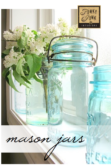 Aqua mason jar vases with lilacs via Funky Junk Interiors