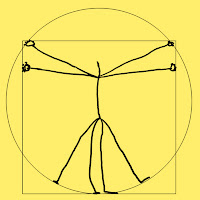 Cartoon of a stylised Leonardo's Vitruvian Man without the head