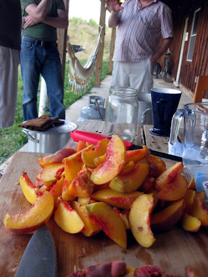 Audrey was a big help cutting up the peaches and keeping an eye on things while I was talking.
