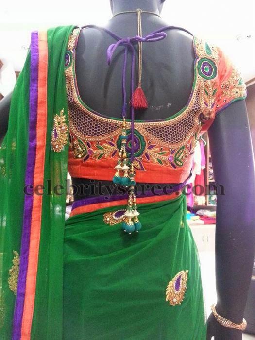 Cut Work Orange Silk Blouse - Saree Blouse Patterns