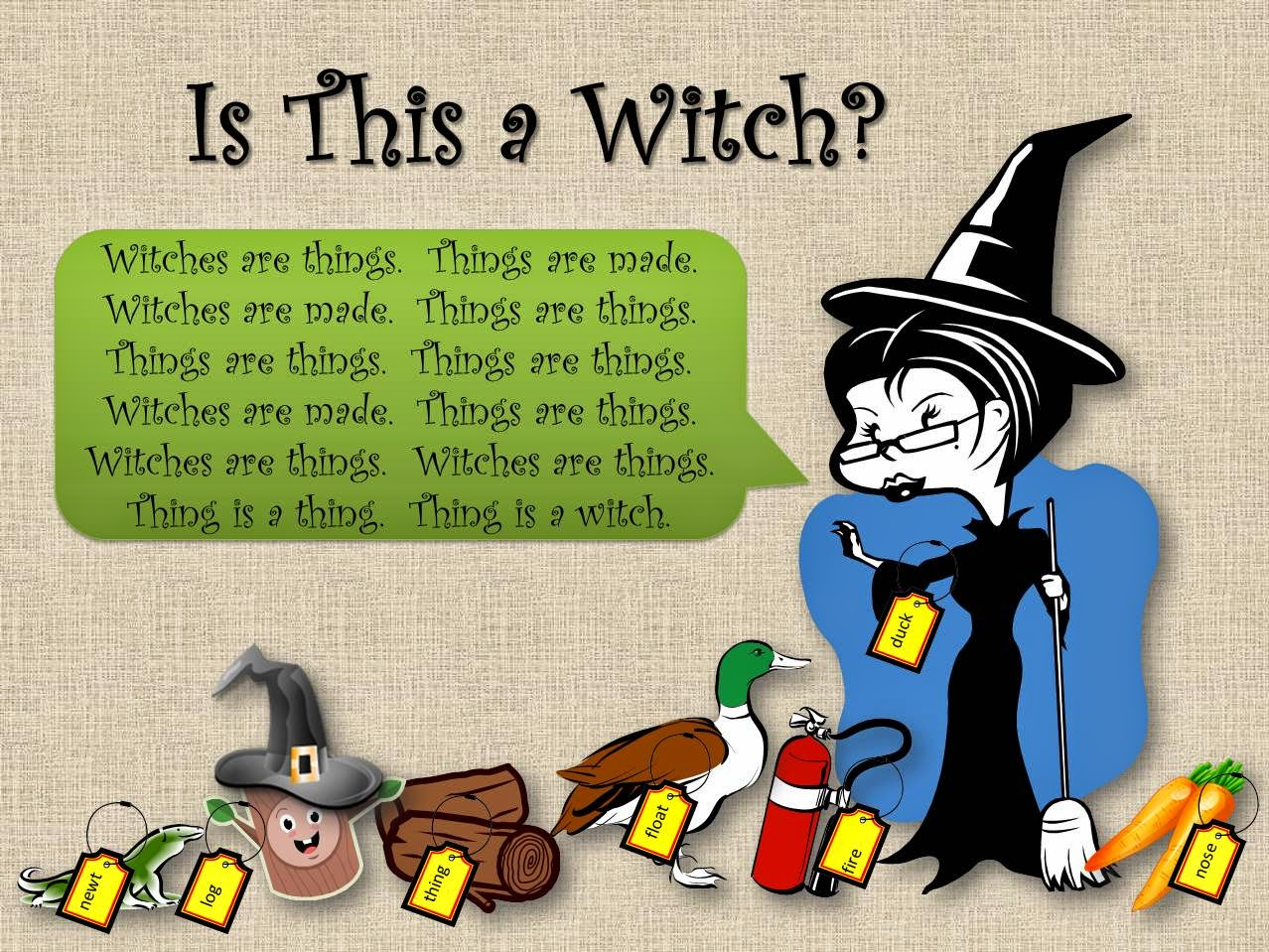 A newt, a log as a witch, a log, a duck, a witch, a carrot, and a fire extinguisher, all labeled, some incorrectly.