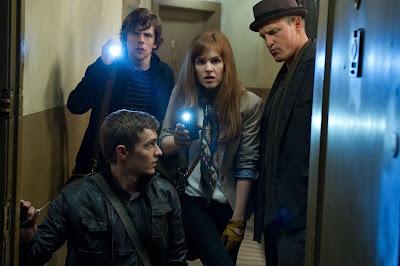 Jesse Eisenberg (J. Daniel Atlas), Dave Franco (Jack Wilder), Isla Fisher (Henley Reeves) y Woody Harrelson (Merritt McKinney)