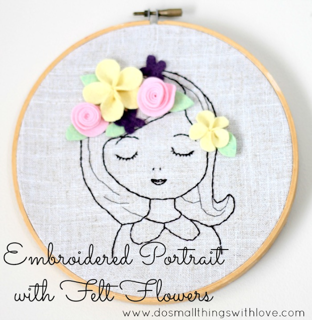 Felt contributor embroidered portrait with flowers
