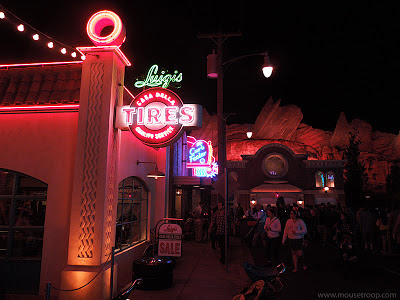 Cars Land Carsland DCA Disney California Adventure night
