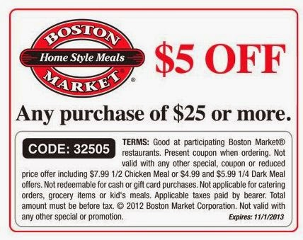 Boston market coupons or discount