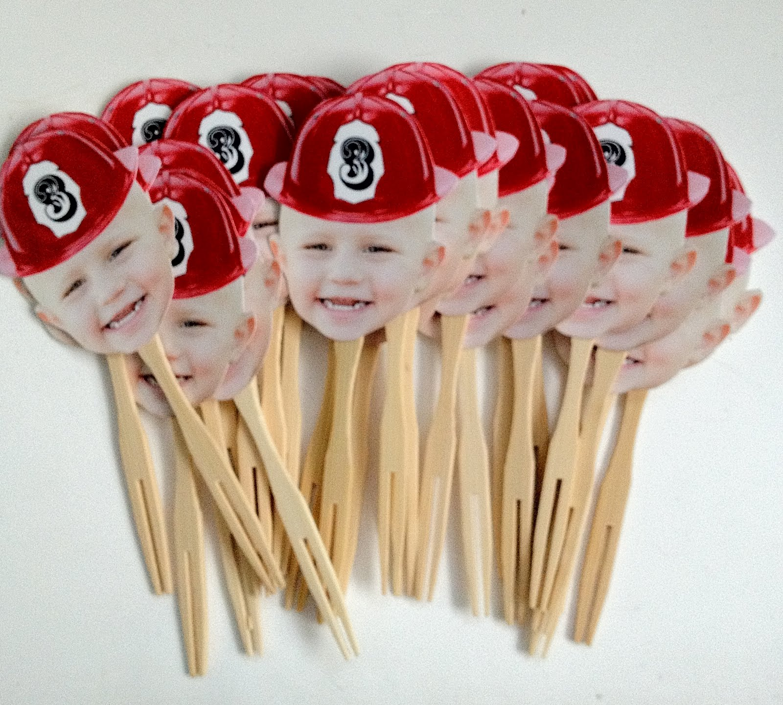 Firefighter Cupcake Decorations Cake Face Toppers Fireman Cupcake Toppers