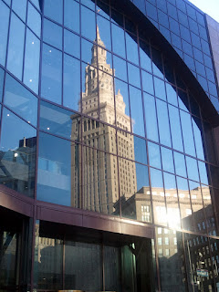 Terminal Tower in a reflection of another building