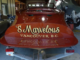 Hand Painted speed boat gold signage Vancouver British Columbia North America traditional signage dobell designs