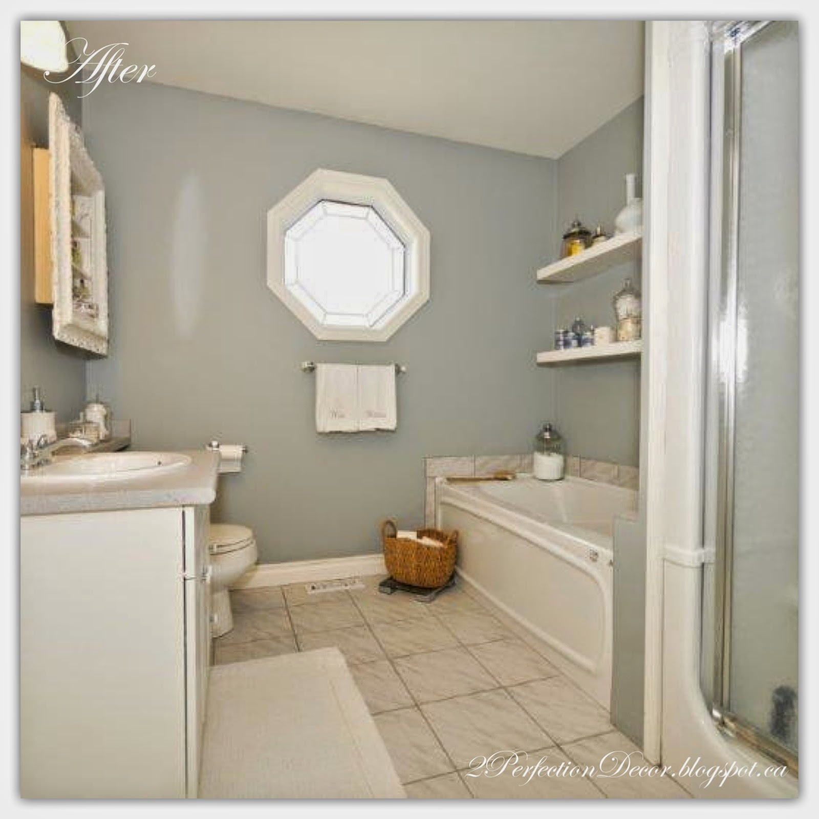2perfection decor coventry gray white bathroom makeover. Black Bedroom Furniture Sets. Home Design Ideas