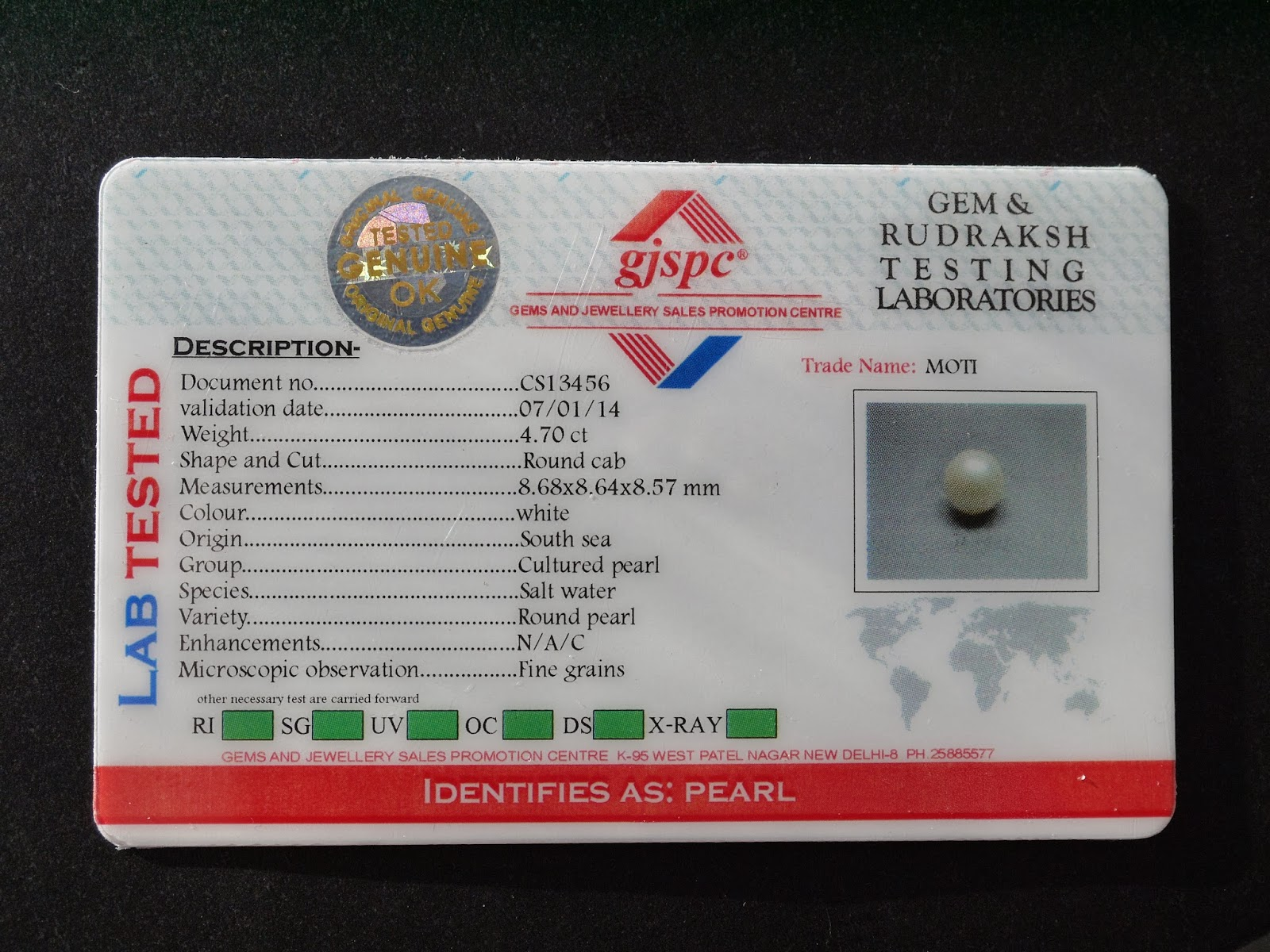 Pearl Gemstone Lab Certificate from GemPundit