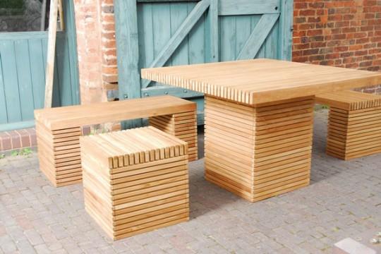 Mobili rio de exterior ripado wood second chance - Mobiliario de exterior ...