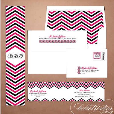 modern pink black chevron printable diy wedding invitation