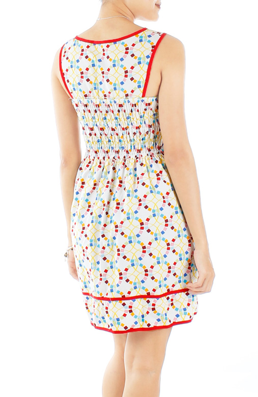 Cream Joyful Carousel Print Dress
