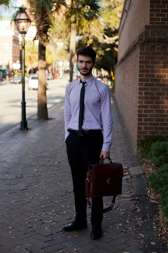 charleston street style, mens fashion, men with briefcase, purple shirts, slacks and ties, college of charleston fashion, southern fashion, mens fashion