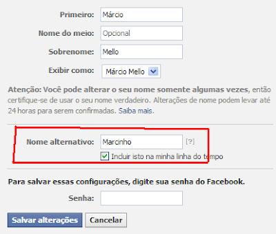 Facebook - Nome Alternativo