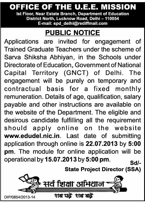 SSA Delhi Teacher Jobs www.edudel.nic.in