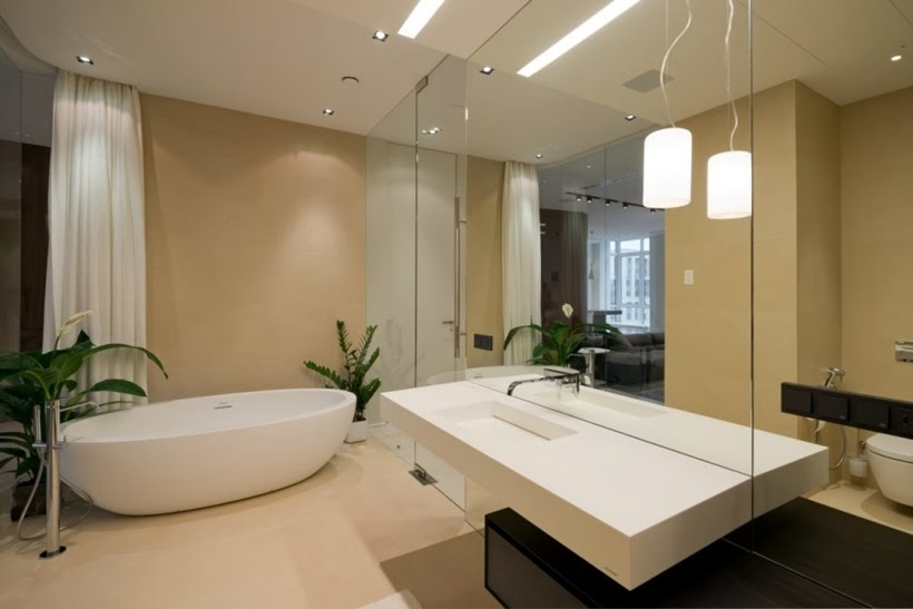 Bathroom in Minimalist modern apartment in Moscow
