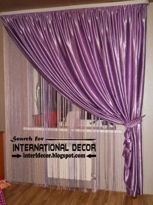 largest catalog of purple curtains and drapes 2015, purple silk curtains with beaded layer