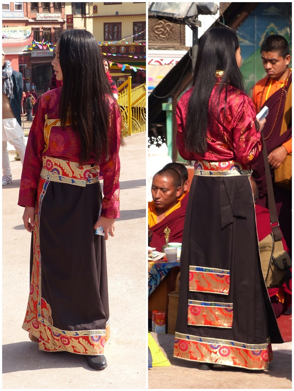 Traditional Tibetan dress, front and back view