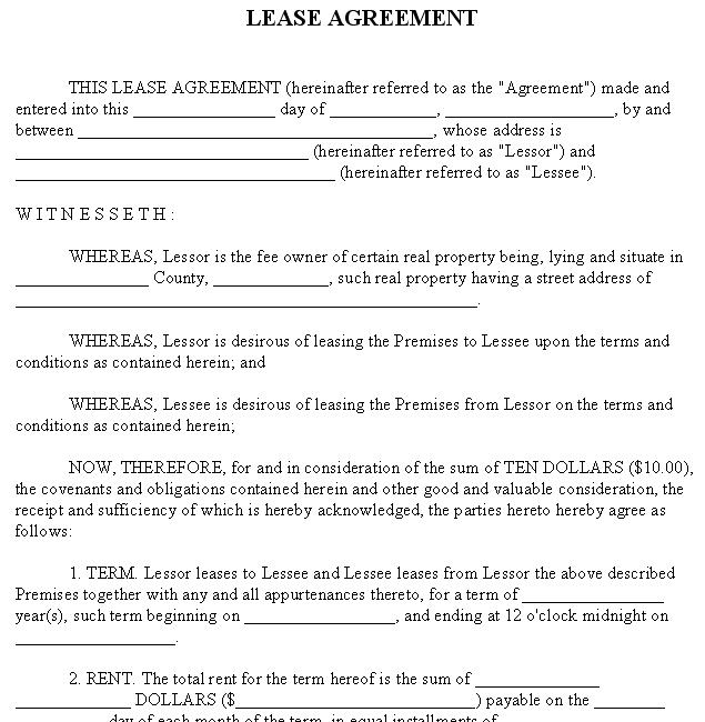 Doc600769 Rental Agreement Word Document Free Texas – Free Lease Agreement Template Word