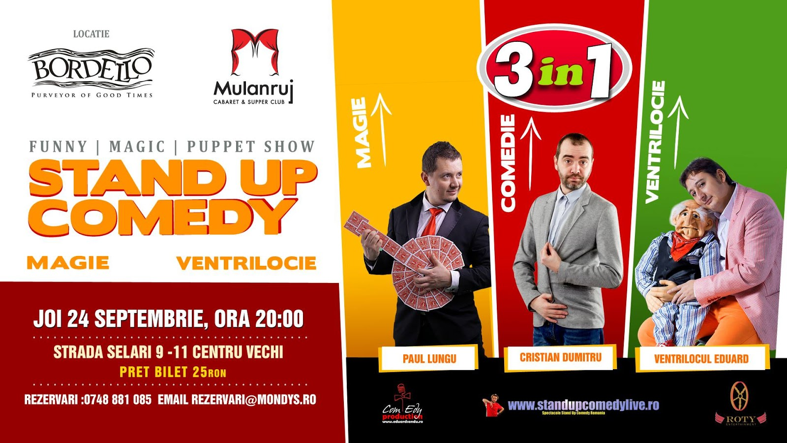 Stand-Up Comedy, Magie si Ventrilocie Joi Bucuresti 24 Septembrie