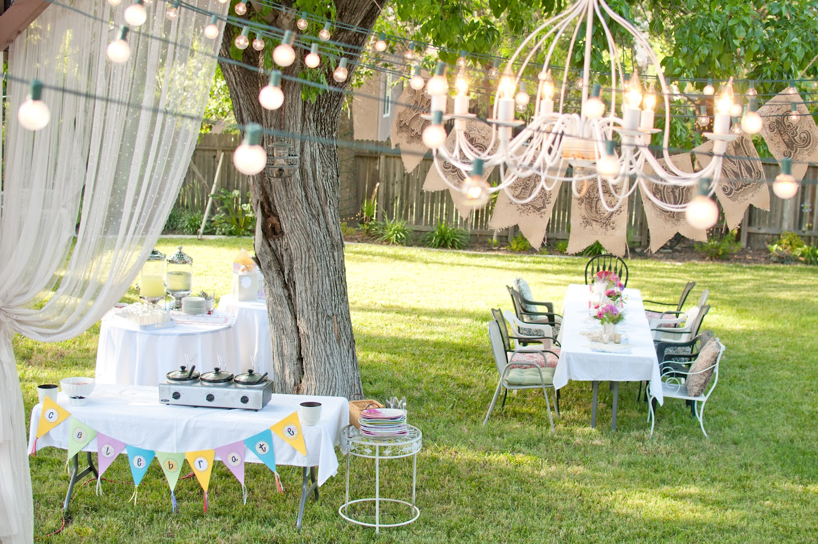 Domestic fashionista summer backyard birthday party for Backyard party decoration ideas