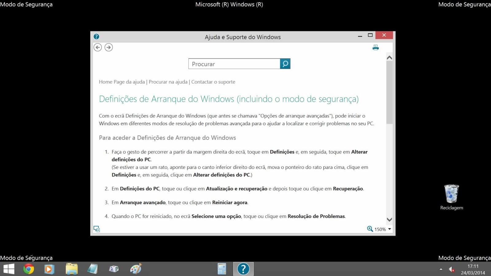 Modo de Seguranca Windows