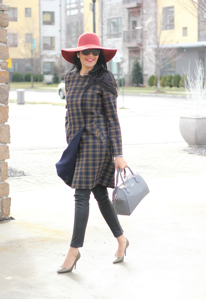 H&M Plaid Coat, Wool Plaid Coat, Wool Floppy Hat, Red Wool Hat, Kate Spade 'Pippa'
