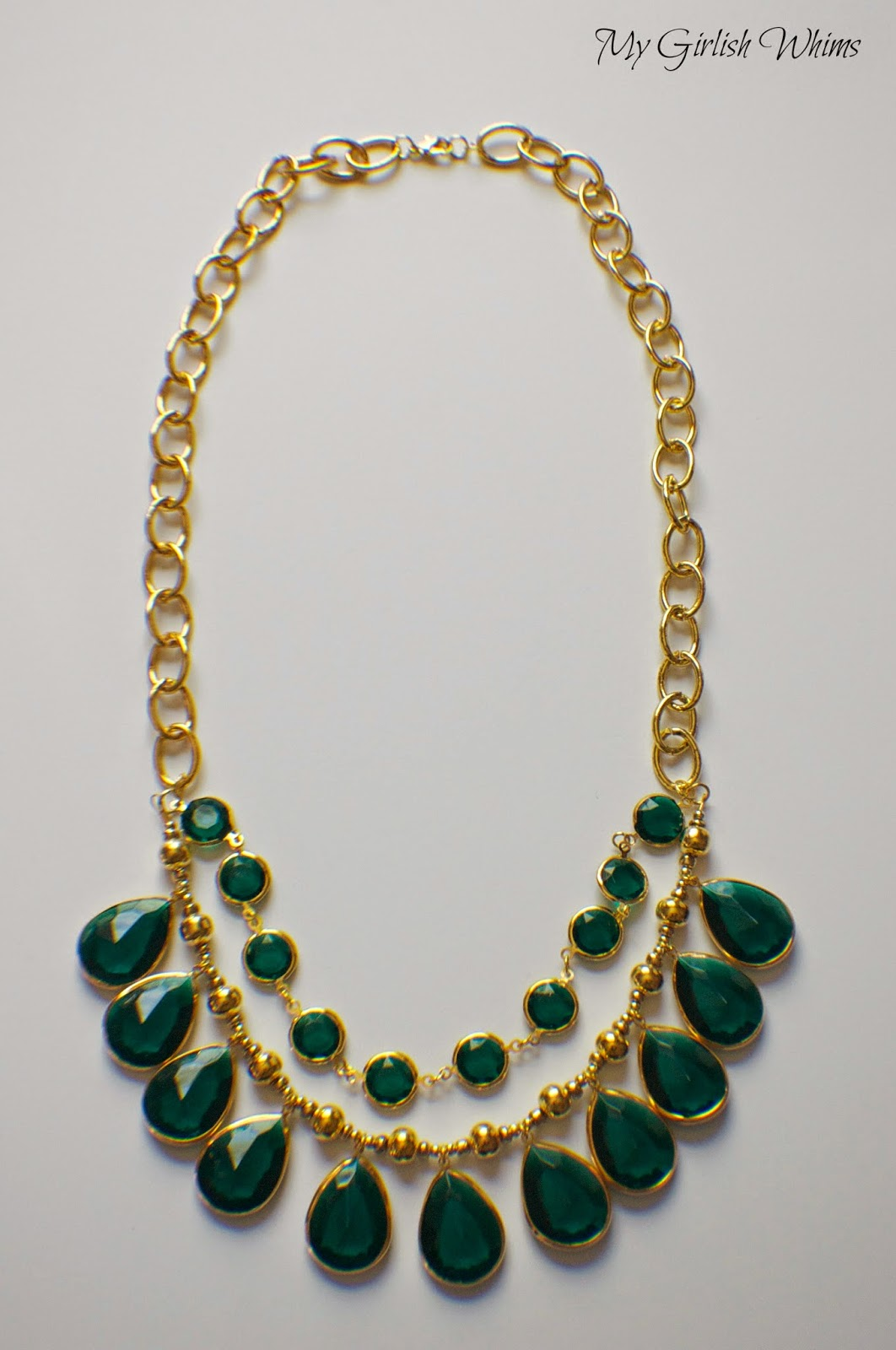 DIY Emerald Charm Statement Necklace - My Girlish Whims