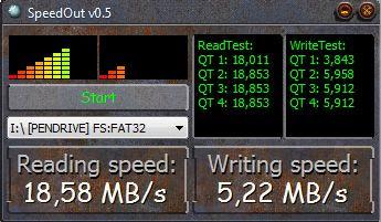 Imagen de una prueba de velocidad de escritura y lectura a un pen drive Kingston DataTraveler de 2GB