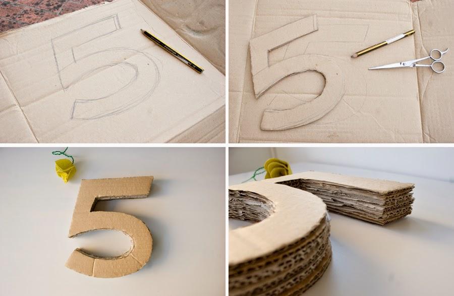 Diy número 5 en 3d con cartón para cumpleaños Frozen2