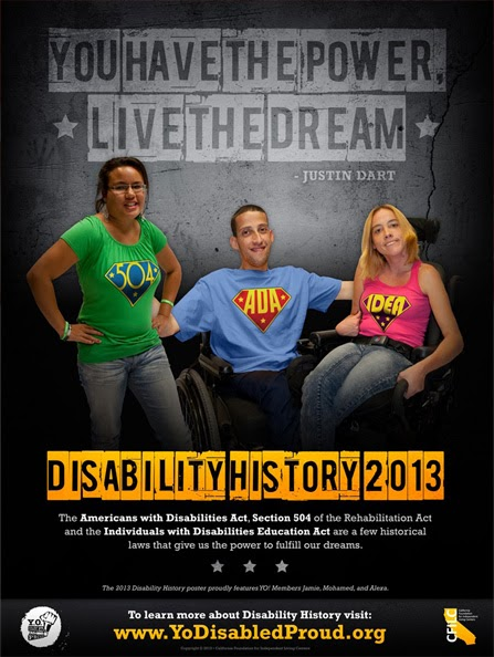 poster of three students arm in arm, two are in wheelchairs and each are wearing different shirts that say 504, ADA, and IDEA