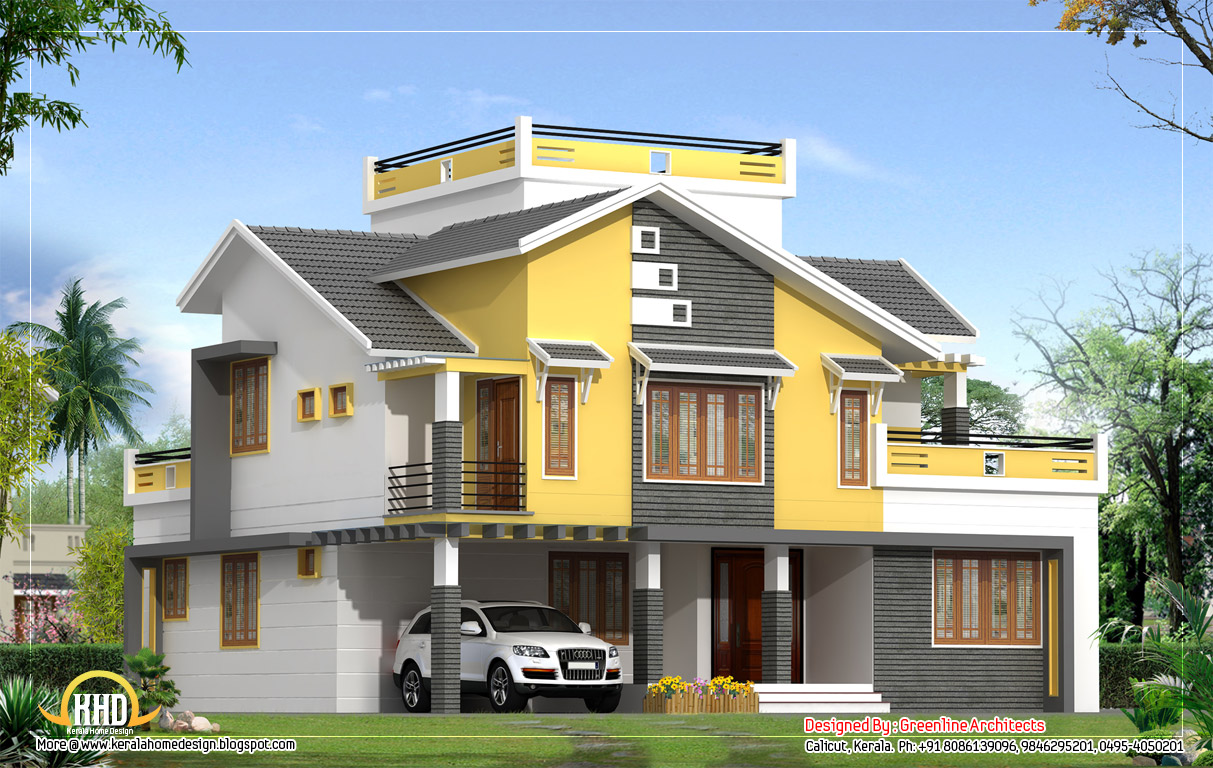 Villa elevation 2550 sq ft indian house plans Villa designs india