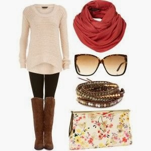 brown long boots with creme sweater and floral bag and glasses