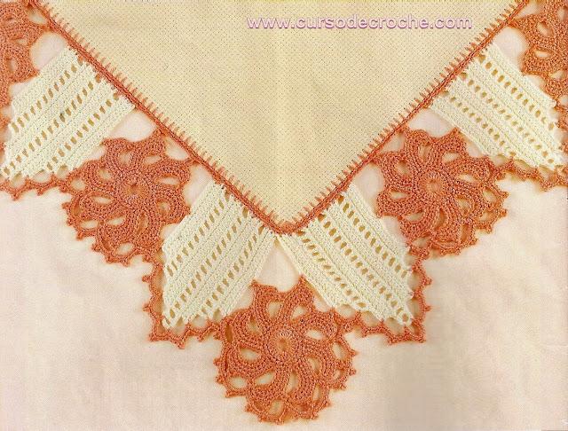 toalhas em tecido com barrados em croche com receita