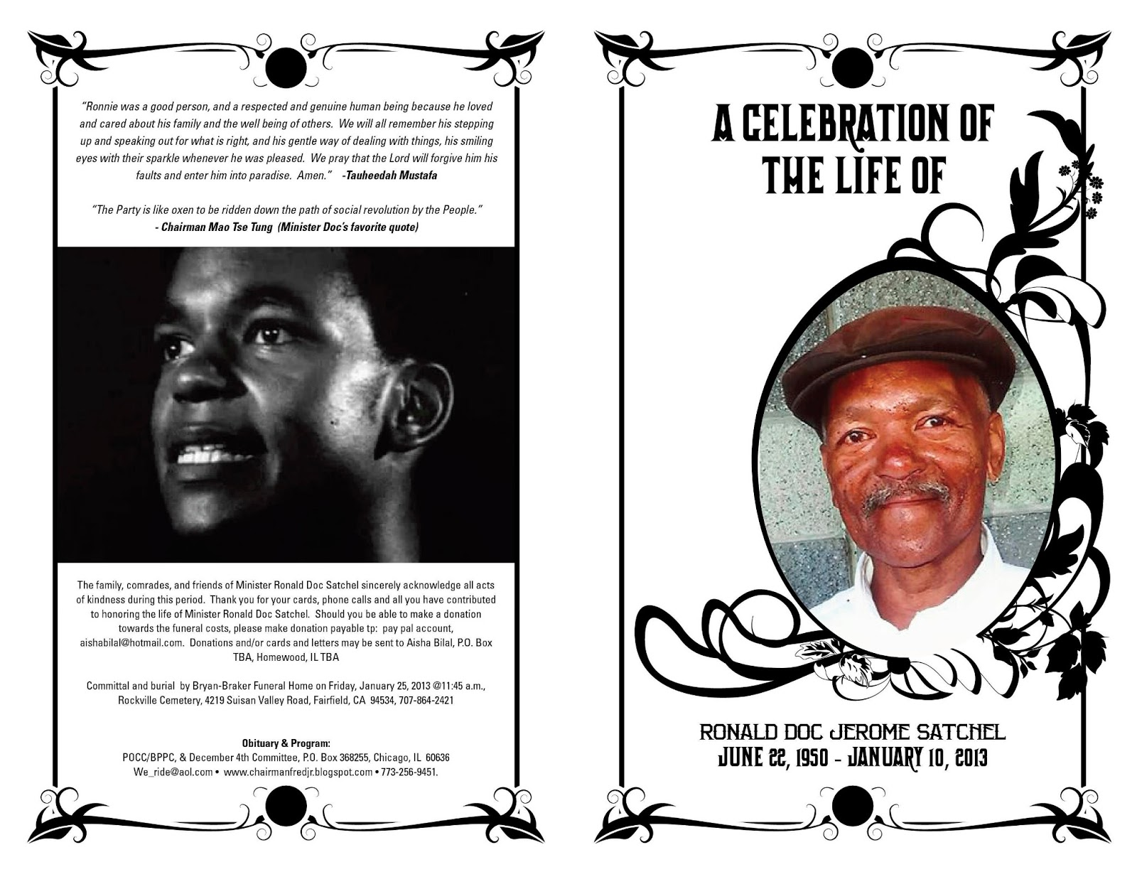 a celebration of the life of minister ronald doc jerome satchel illinois chapter black panther party - Free Celebration Of Life Program Template