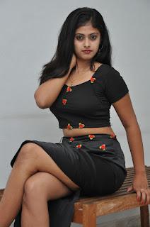 Megha Sri in lovely Leg Split Black Skirt and Black CHoli at Kaki Movie Press meet event