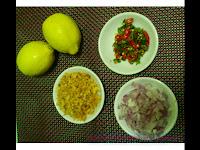 lemon,cili api,udang kering,bawang kecil