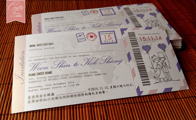 Pink Purple Wedding Ticket Printing Malaysia