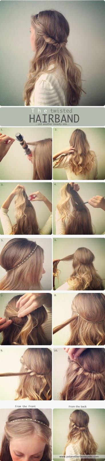 peinado facil con ondas y diadema