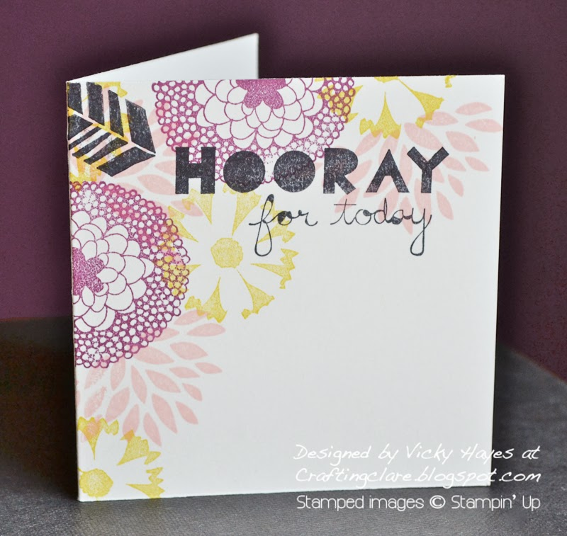 Crafting clare makes a one layer card using the Sale-a-bration free stamp set Petal Parade from Stampin Up