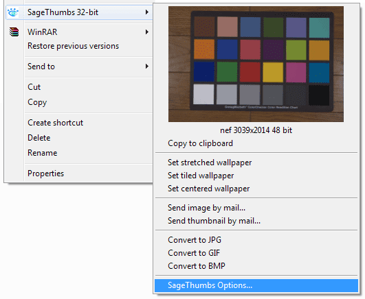 SageThumbs Context Menu Options