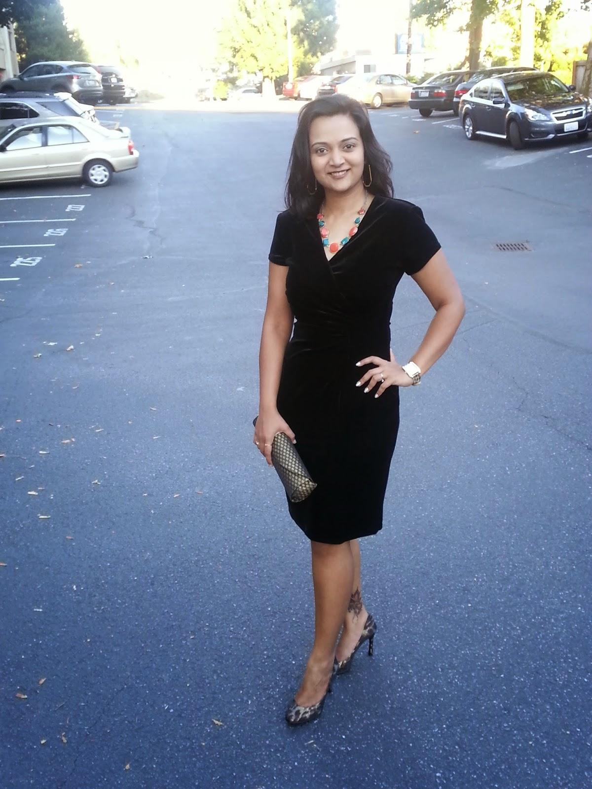 Seattle fashion blogger, Black Velvet dress, classy black dress, lady like dress, elegant dress for indian women