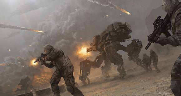 Geoffroy Thoorens djahalland deviantart ilustrações arte conceitual guerras futuristas batalhas tecnologia Guerra