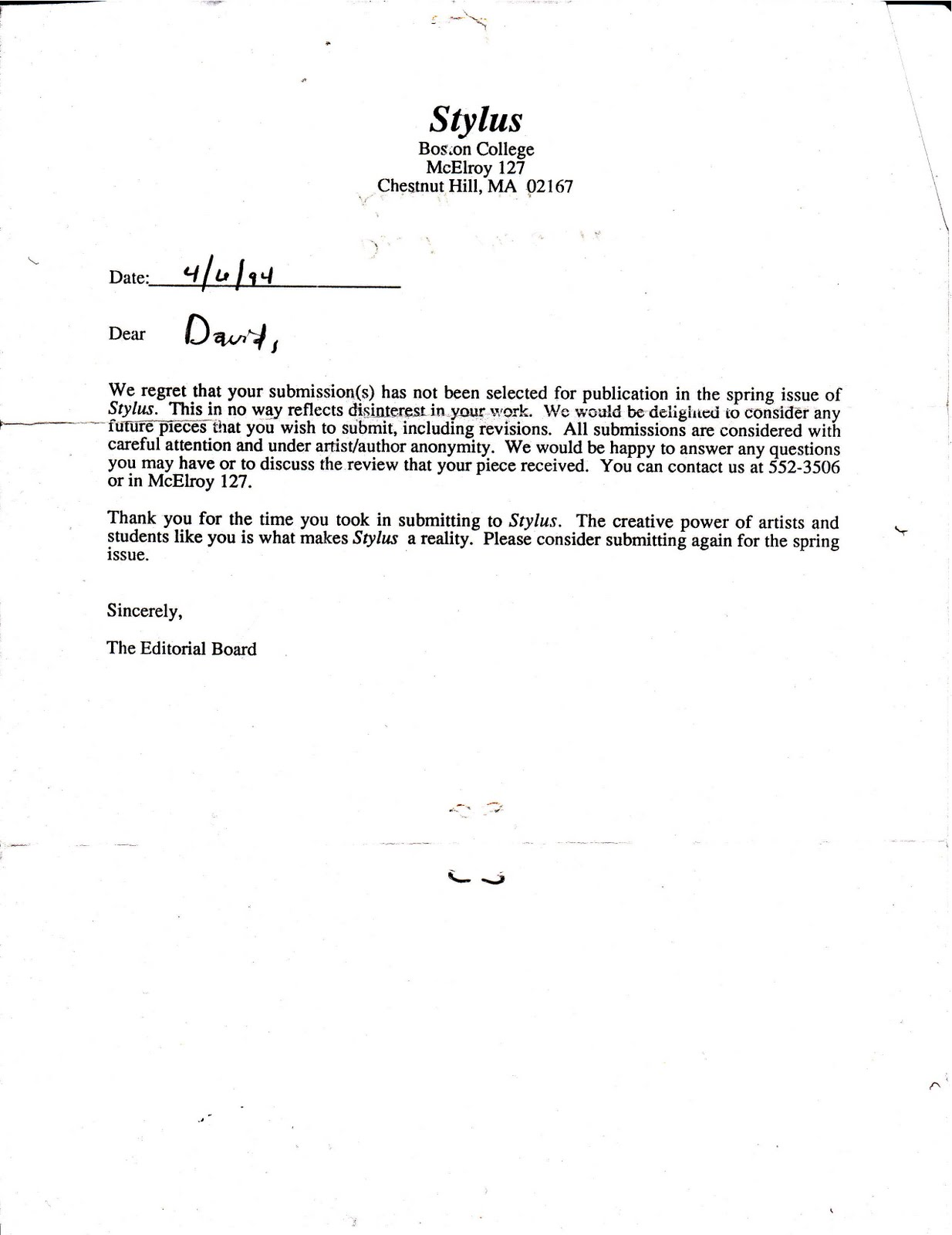 Example Of Rejection Letter